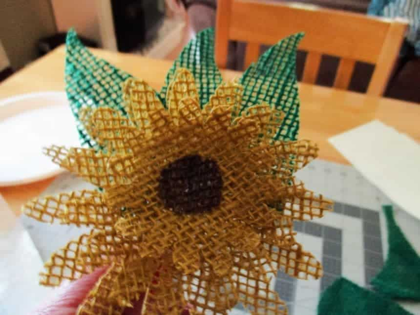burlap sunflower
