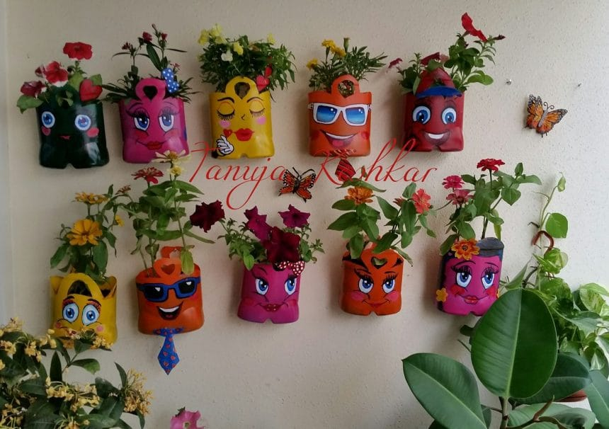 Smiley hanging pot 13 simple craft ideas for Simple best out of waste