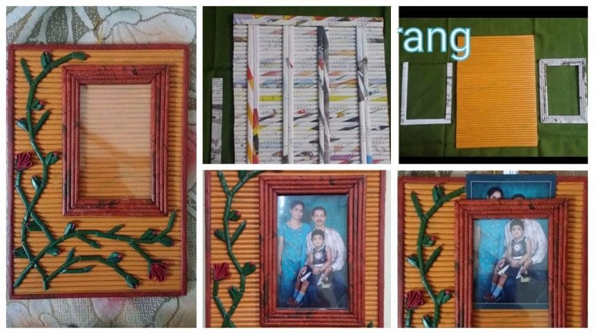 frame with newspaper