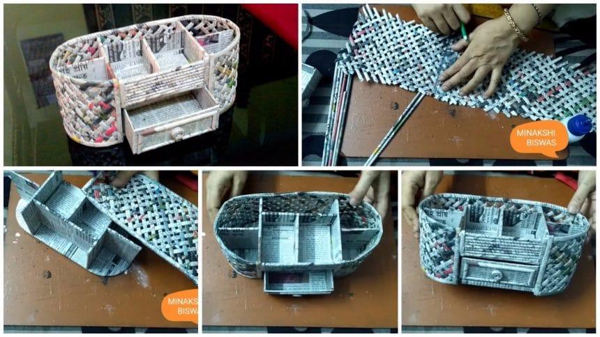 How to make a desk organizer using cardboard and newspaper