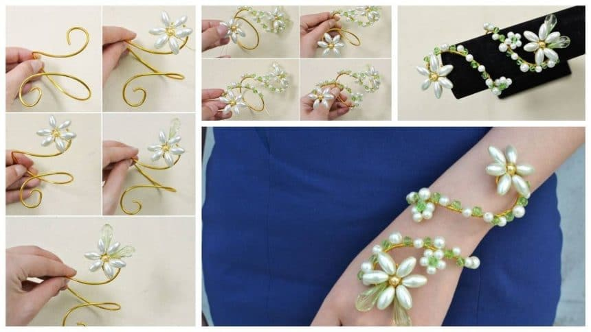 How to make a wire wrap pearl flower bracelet
