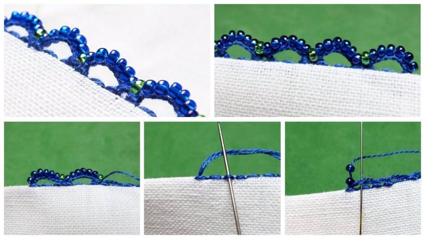 Scalloped beaded buttonhole edging