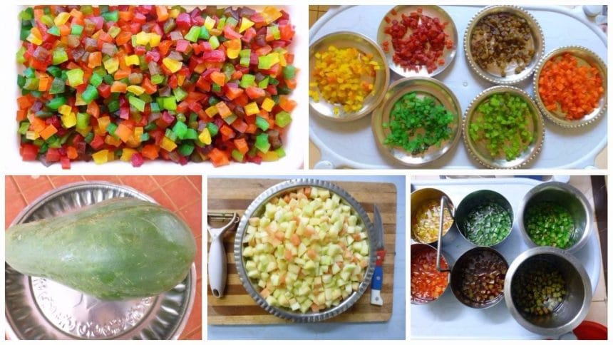 colourful tutti-frutti cubes from raw papaya