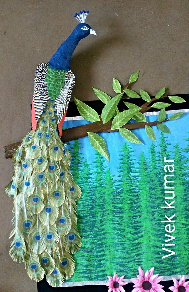 How to make peacock wall art simple craft ideas for Waste paper wall hanging
