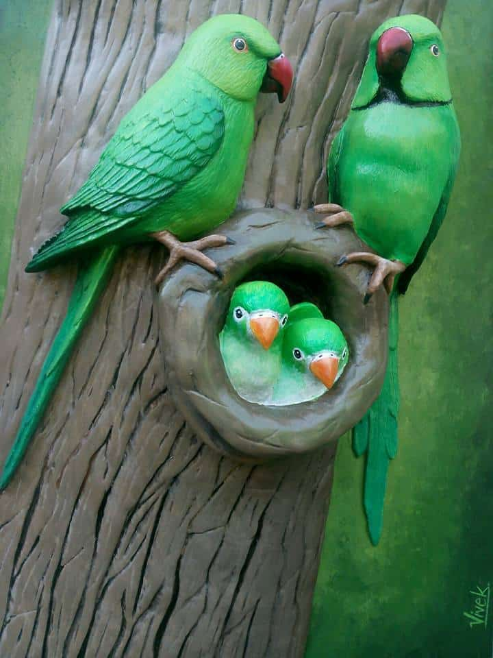 how to make parrot family from clay art