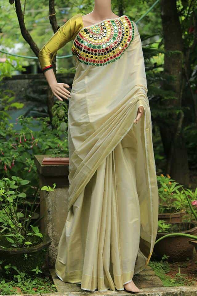 Stand Neck Blouse Designs : How to make mirror work designer kerala saree simple