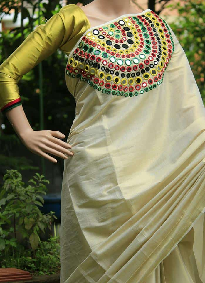 How to make mirror work designer kerala saree simple for Mirror work saree