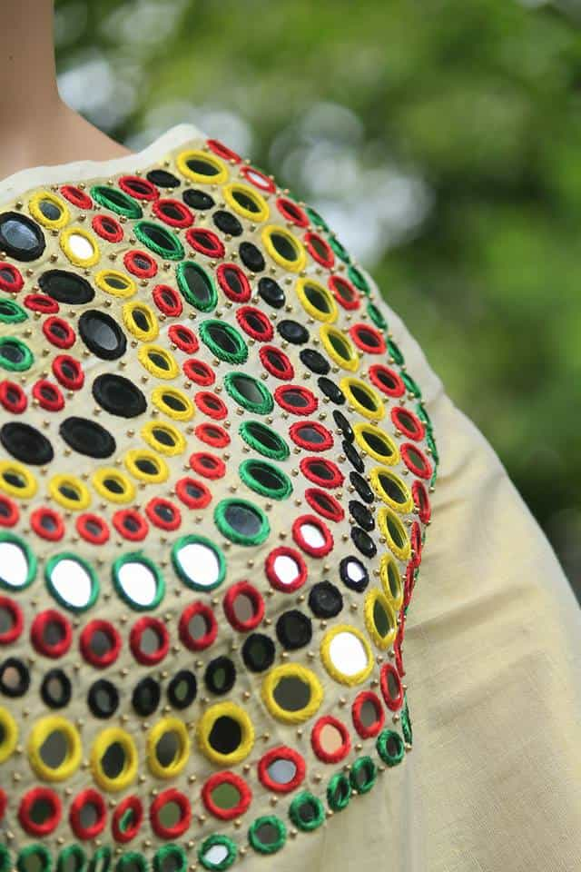 How To Make Mirror Work Designer Kerala Saree Simple