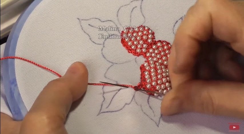 hand embroidery puffed flower with beads