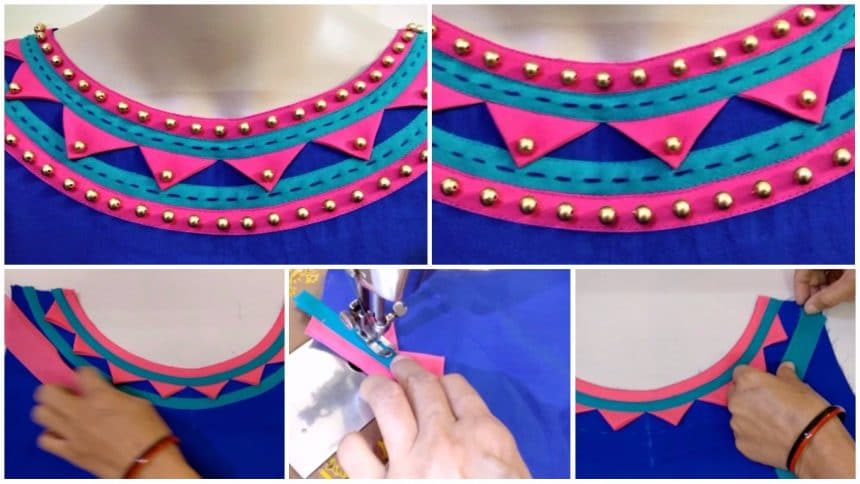 Rajasthani look boat neck design cutting and stitching
