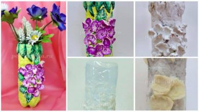 vase with flowers from a plastic bottle