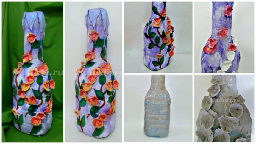 Vase from a plastic bottle with stucco decoration