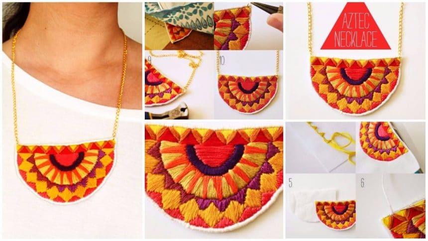 Aztec patterns necklace