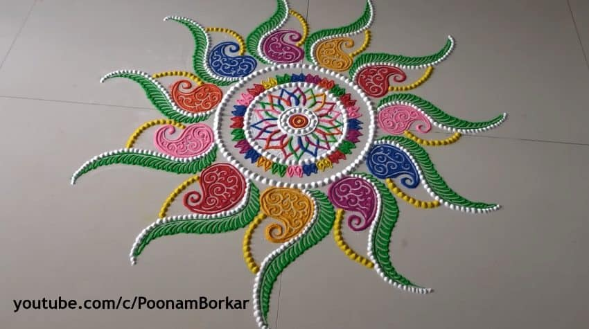 Diwali Special Multicolored Rangoli Design Simple Craft Ideas
