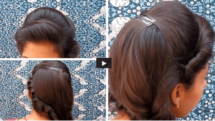 Side puff with fishtail braid hairstyle