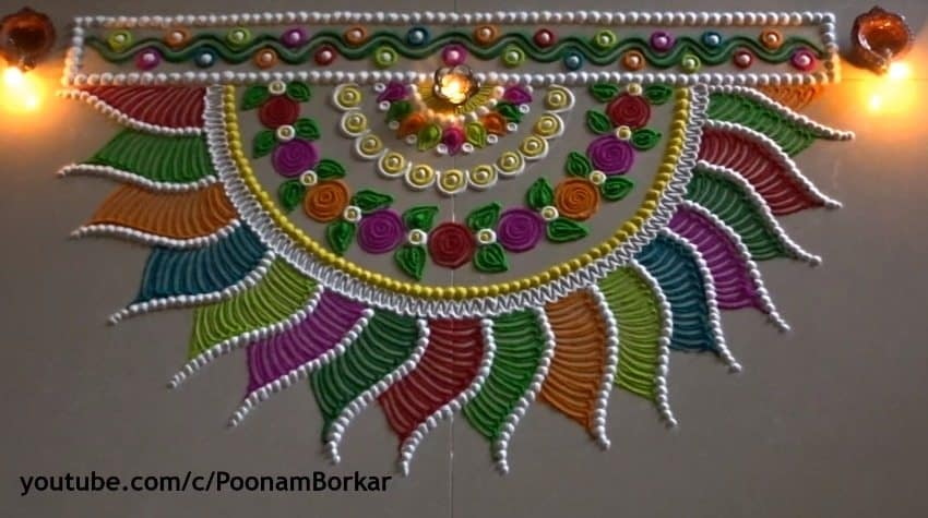 Diwali Special Multicoloured Semi Circle Rangoli Design