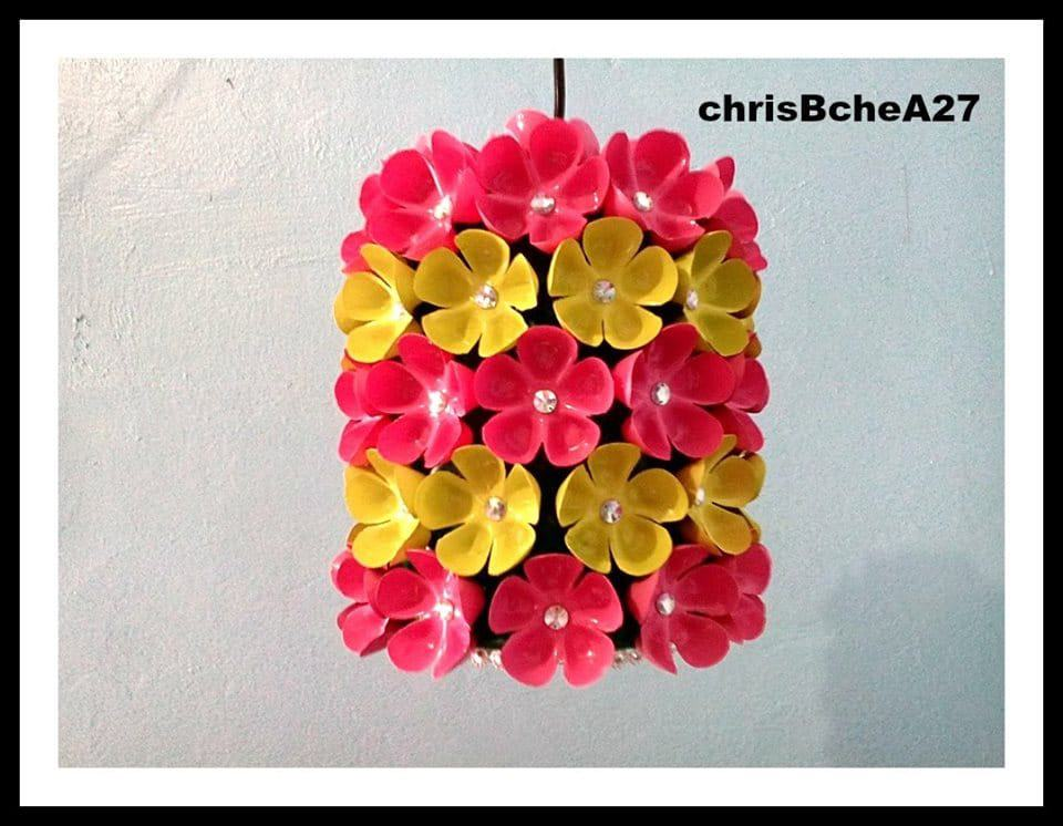 How to make floral chandelier from plastic bottle simple for Chandelier craft ideas