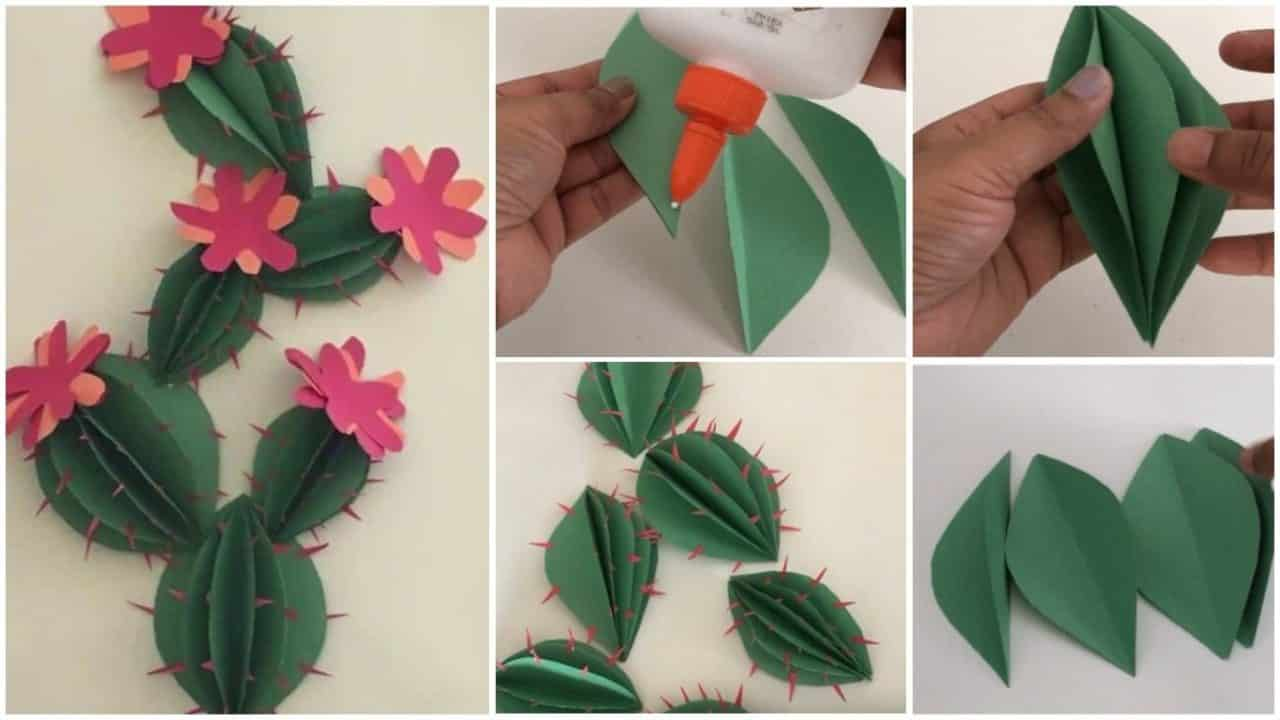 How To Make Cactus Wall Decor From Paper Simple Craft Ideas