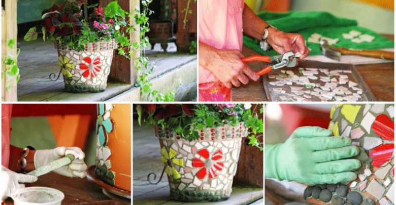 Fflower pots with mosaic tiles