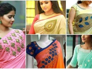 designer saree and blouse