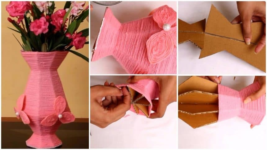 How To Make Flower Vase From Cardboard