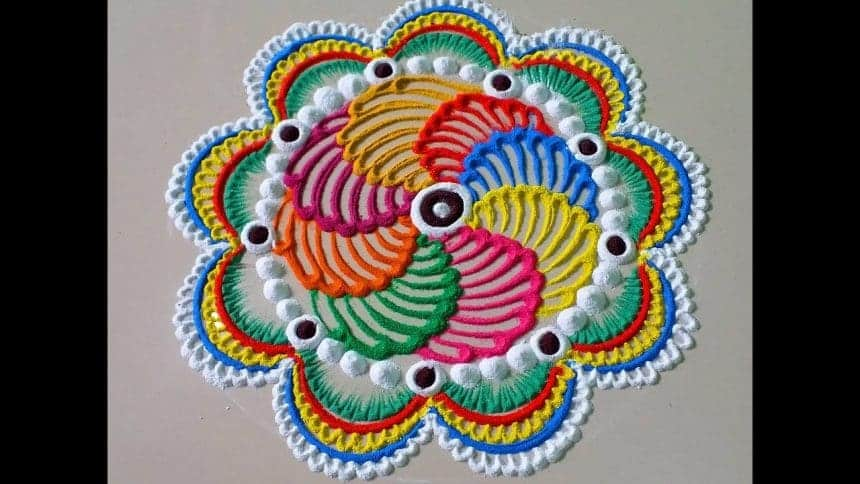 How to make beautiful innovative multi colour rangoli ...