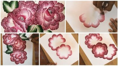 Beautiful dotted flowers from one stroke painting