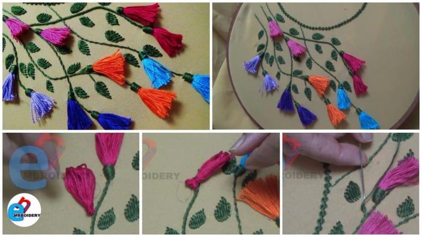 Neckline embroidery for kurtis