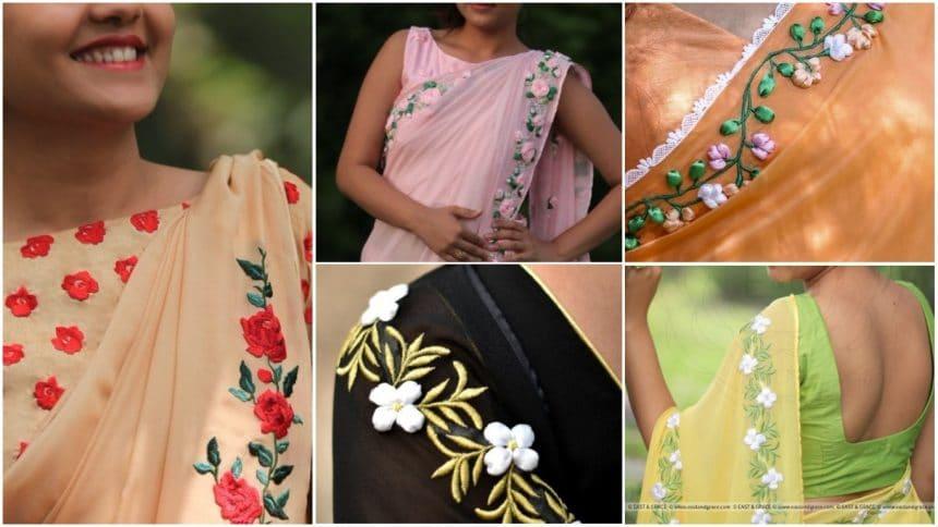 Pure silk,chiffon,and net embroidered saree