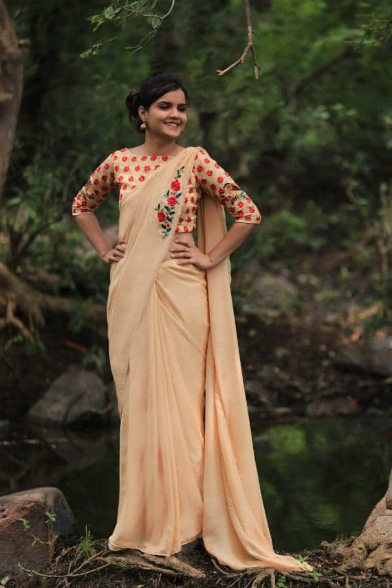 Stand Collar Neck Designs : Pure silk chiffon and net embroidered saree simple craft