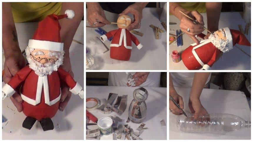 How to make santa claus from plastic bottle