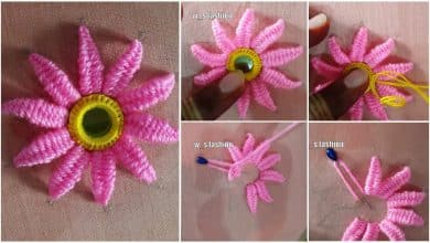 Hand Embroidery beautiful mirror flower designs and picot stitch work
