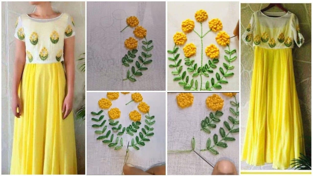 Easy Embroidery Design On Kurthi With French Knot And Chain Stitch
