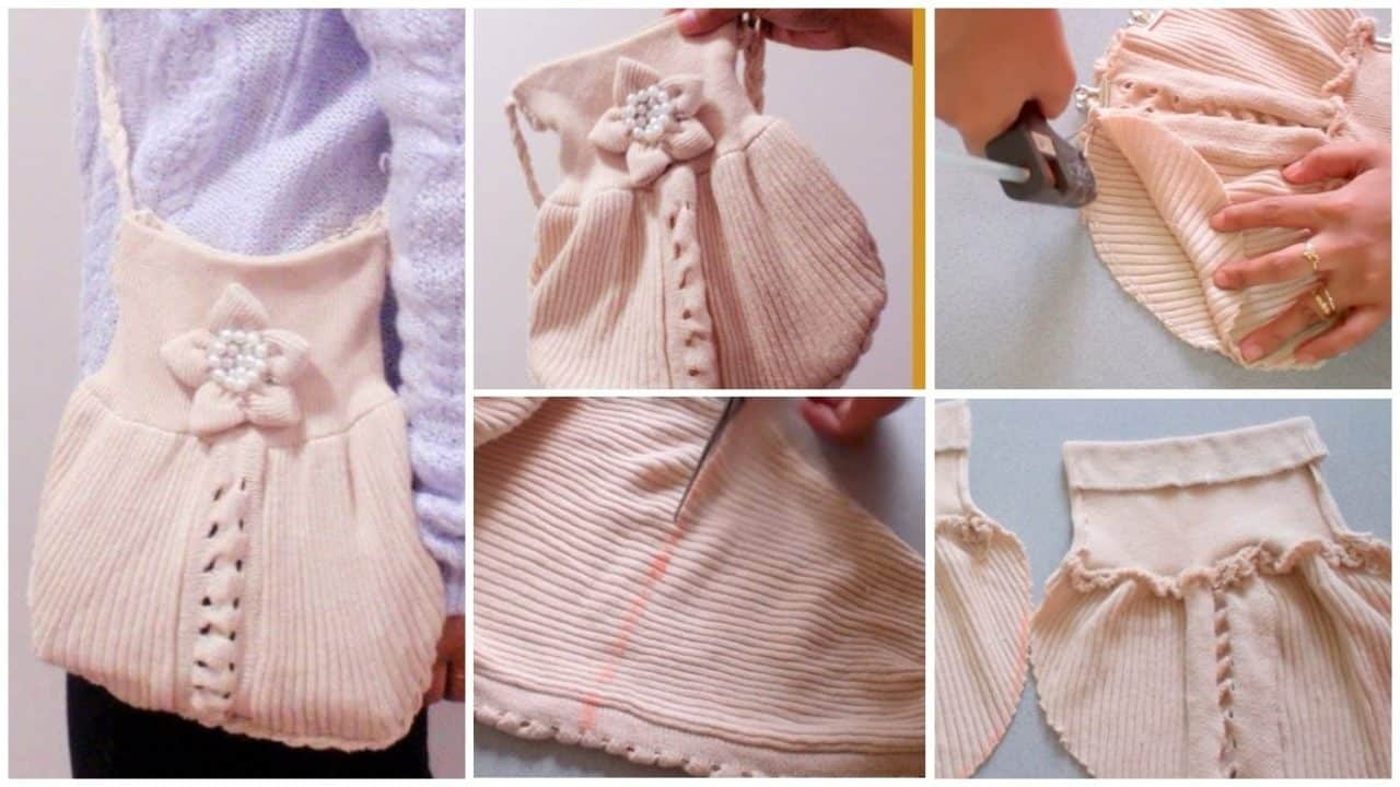 How to make crossbody purse from old sweater