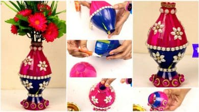Flower vase made with recycled plastic bottle and beads