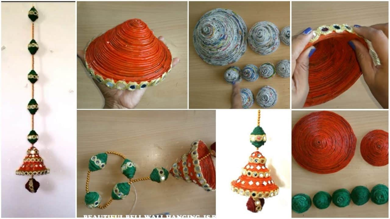How to make newspaper bell wall hanging