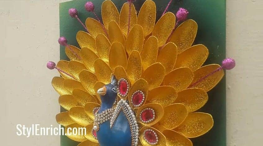 How To Make Creative Peacock Using Plastic Spoons Simple