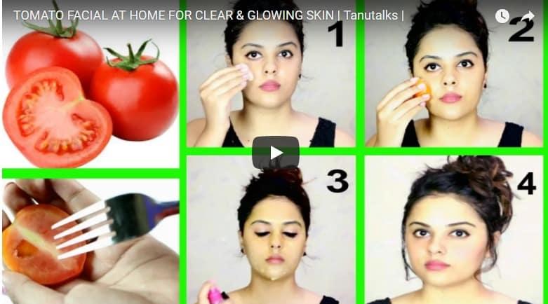 Skin brightening tomato facial