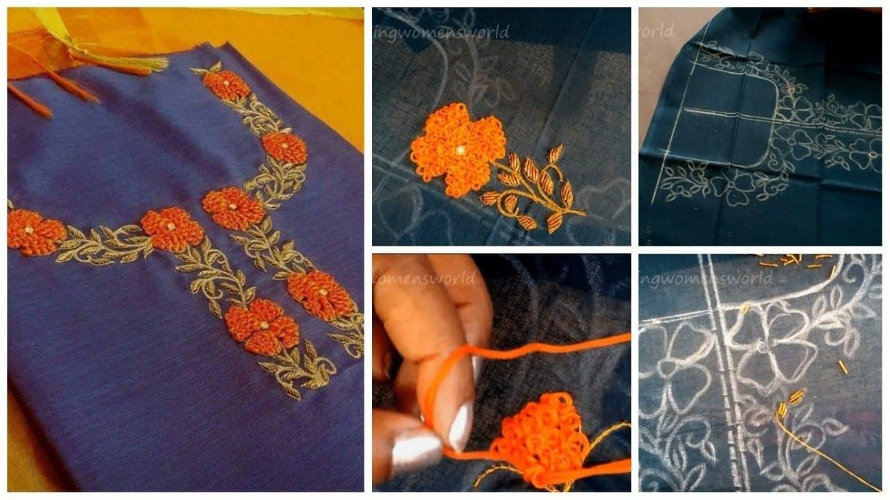 Maggam hand embroidery design on kurti and saree border