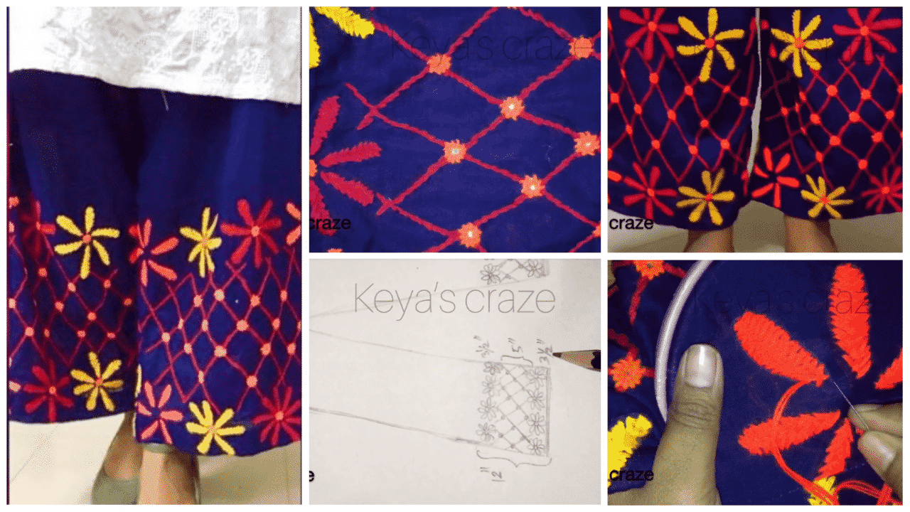 Hand embroidery on palazzo pant