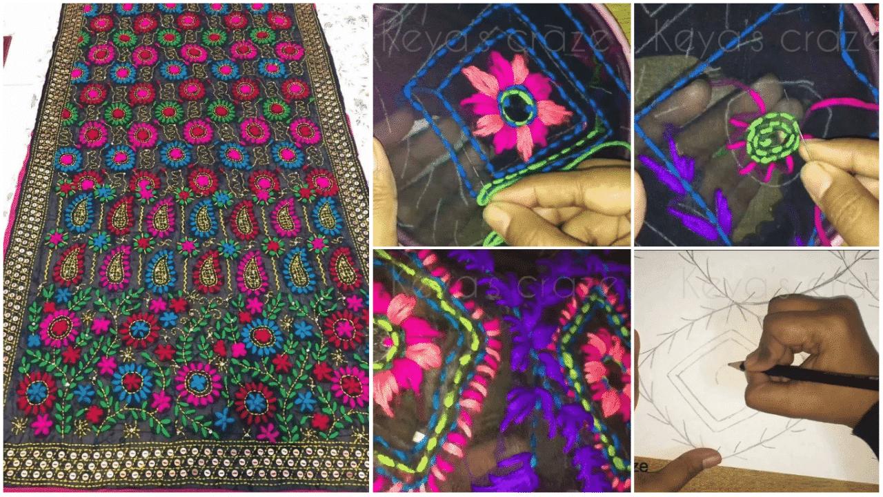 Hand embroidery of phulkari dupatta