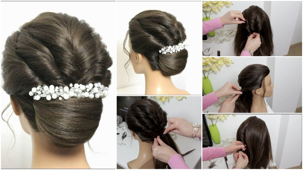 French roll bun hairstyle with twists