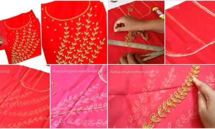 Gold beads designing for kurti
