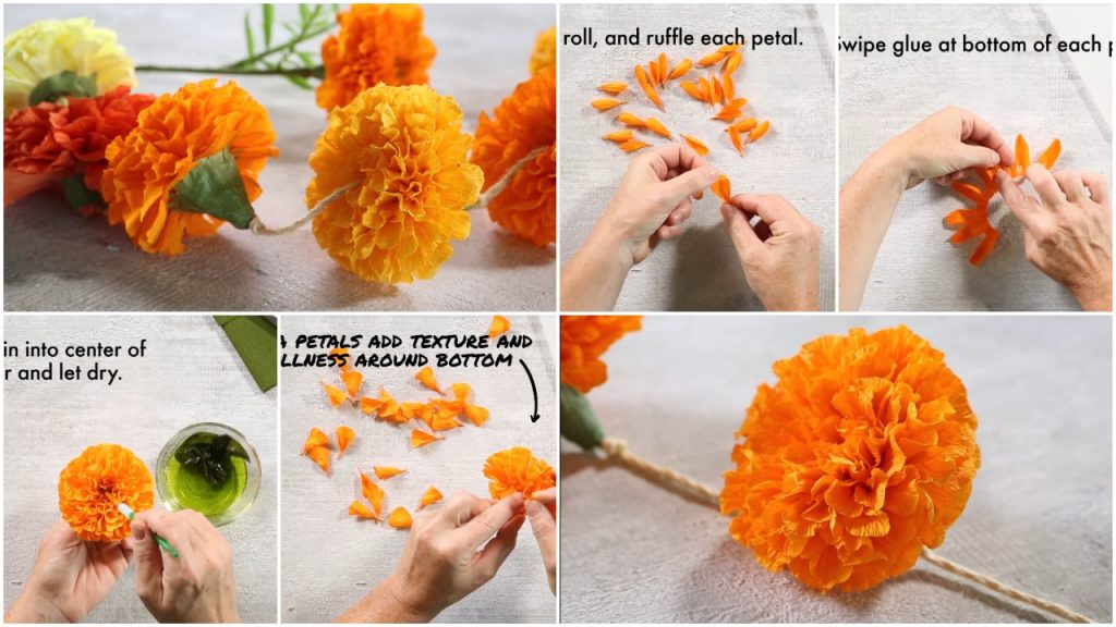 How To Make Marigold Paper Flowers Simple Craft Ideas