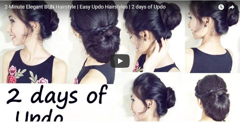 2 Minute Elegant Bun Hairstyles Simple Craft Ideas