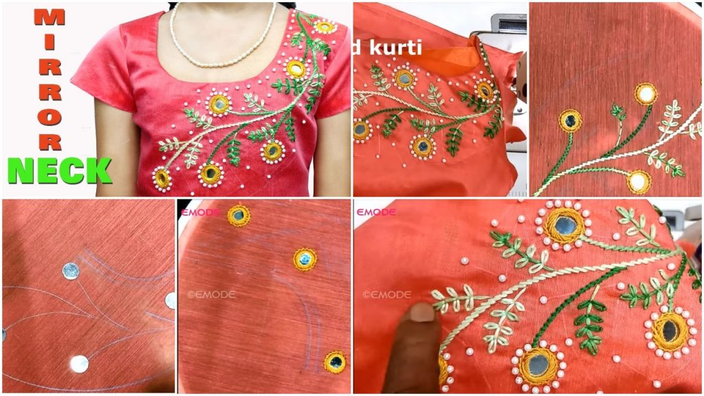 Mirror Neck Design Full Hand Embroidery Simple Craft Ideas