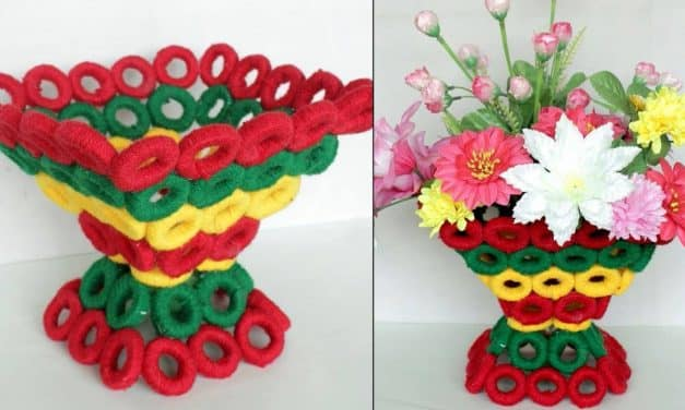 Beautiful decorative flower basket making at home