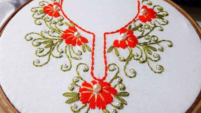 Hand Embroidery Neck Designs Step By Step Artsycraftsydad