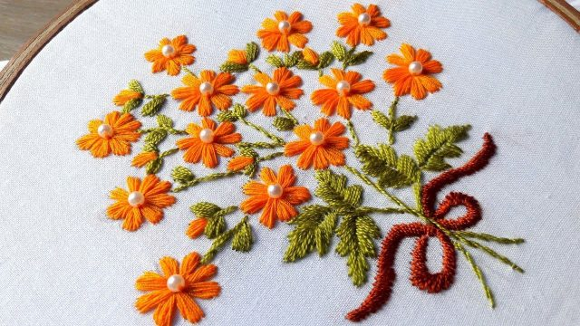 Hand Embroidery Satin Stitch Flower Design Artsycraftsydad