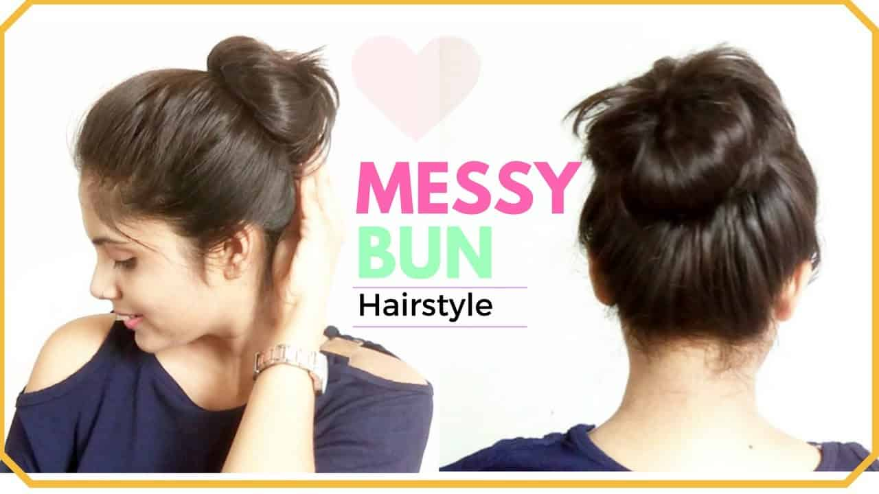 1 Minute EASY Everyday Messy Bun Hairstyle | Simple Bun Hair Tutorial For  Medium Hair